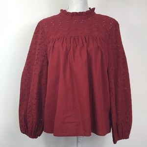 NWT Madewell Dark Red Baby Doll Eyelet Sleeve L